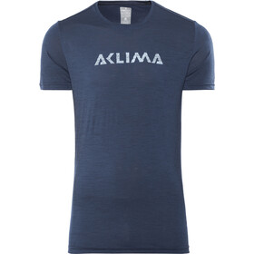 Aclima Lightwool Logo T-Shirt Heren, insignia blue